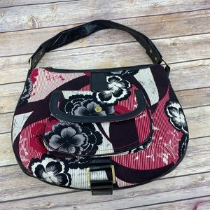 Ted Baker floral and patent leather handbag